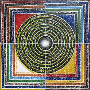 Indian abstract paintings on canvas - Rangoli 10 - Panna Paintings