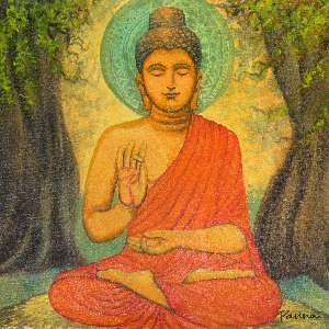 Paintings of Buddha on canvas - Bodhi tree - Panna Paintings