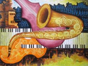 Abstract painting of musical instruments by Panna - Contemporary Jazz