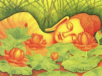 Sleeping Buddha painting - Spiritual by Panna Paintings - Buddha 15