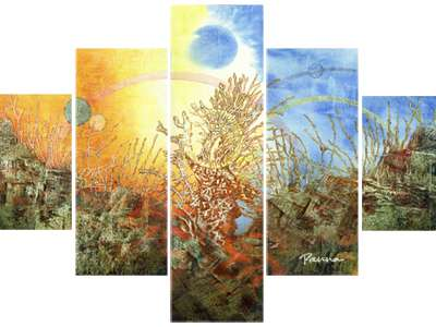 abstract spring paintings - set of 5 piece paintings by Panna
