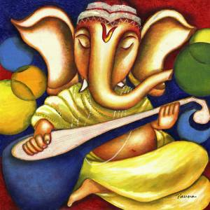 Abstract ganesha paintings on canvas - Ganesha 6 - Panna Paintings