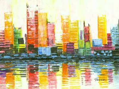 Abstract city skyline paintings - Panna Paintings - Cityscape I