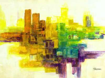 Abstract cityscape paintings - Panna Paintings - Cityscape II