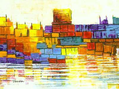City skyline paintings - Panna Paintings - Cityscape III