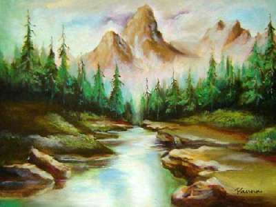 Mountain scenery paintings by Panna - Mountain River 1