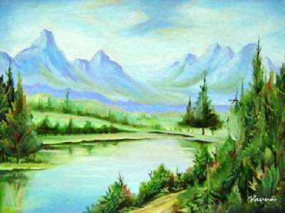 Mountain paintings landscapes by Panna - Mountain River 2