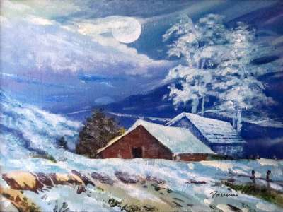 Snow paintings in acrylic - Panna Paintings - Snow Paradise