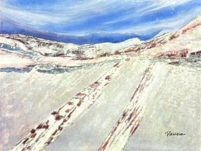 Paintings of sceneries - Snow Paradise 2 - Landscape by Panna Paintings