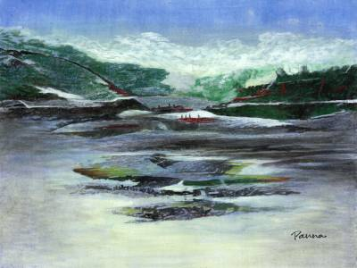 Indian scenery paintings - Snow Paradise 3 - Landscape by Panna Paintings