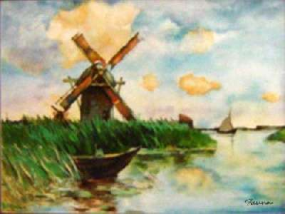 Landscape scenery paintings by Panna - Windmill