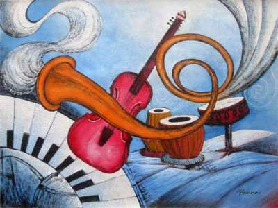 Blues music art - Panna Paintings - Blues