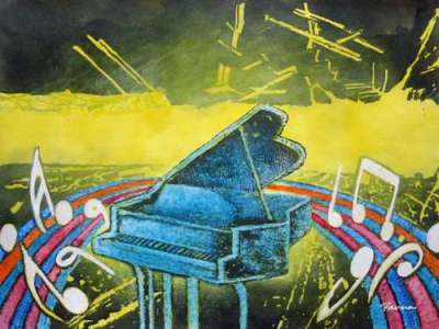 Abstract piano painting - Panna Paintings - Rainbow Piano