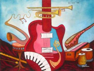 Sound of music painting - Abstract music art - Panna Paintings