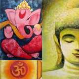 Abstract paintings of Hindu gods - Panna Paintings