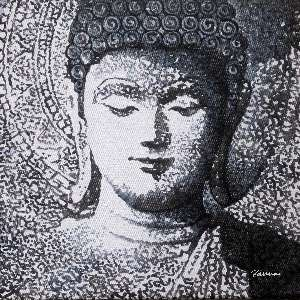 Buddha paintings Indian - Panna Paintings - Black and White 05