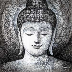 Canvas buddha paintings - Panna Paintings - White and Black 07